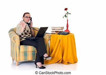Businesswoman working home - Attractive middle aged...