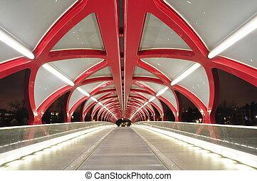 Calgary pedestrian bridge - Interior of a Calgary pedestrian...