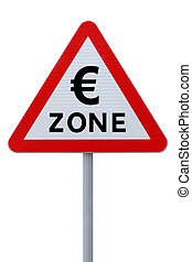 Eurozone road sign isolated on white with clipping path
