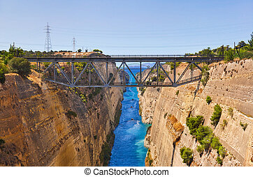 Corinth channel in Greece - travel background