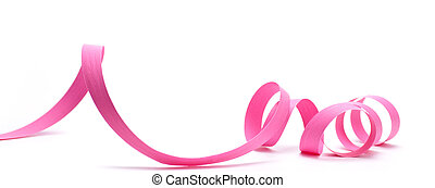 Party Favor, Pink Ribbon - Pink ribbon over white...