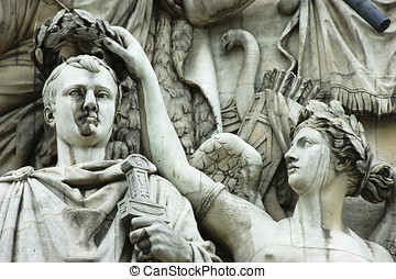 Arc de Triomphe - Detail of high-relief on Arc de Triomphe,...