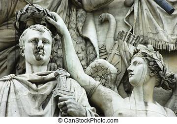 Arc de Triomphe - Detail of high-relief on Arc de Triomphe,...