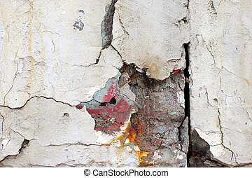 large crack in the concrete beam - large crack in the old...