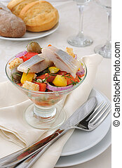 Pantsanella of herring - Salad with pieces of herring, white...