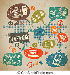 Social media infographics set with communication icons