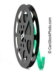 black 16 mm film reel isolated on white