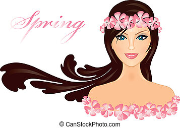 girl with flowers - Vector illustration of girl with flowers...