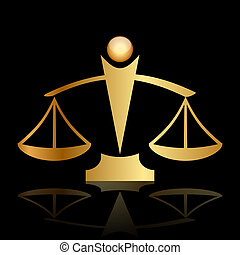 justice scales on black background - Vector gold icon of...