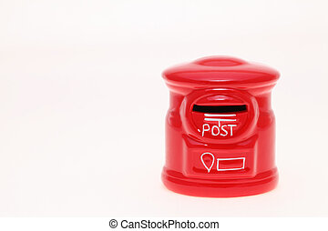 Post bank style money box on white background