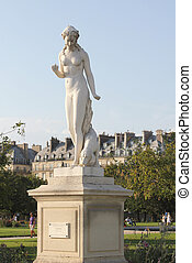Statue of Nymph by Edmond Leveque in the Tuileries Garden,...