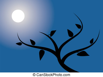 Tree in the night - A tree silhouette with a white moon and...