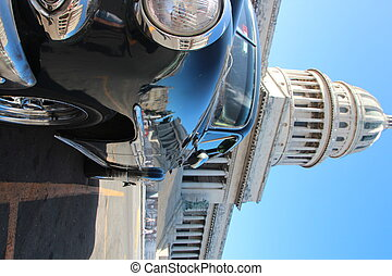 Car and Capitol in Havana, Cuba