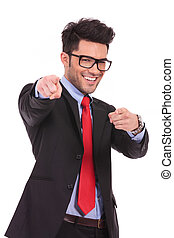 business man pointing with both hands - young business man...