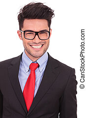 business man with big smile - young business man smiling...