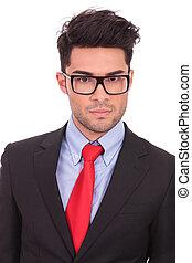 serious business man - closeup of a young business man...