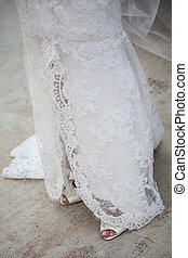 Lace hanging on the ground - The bottom cut of the wedding...