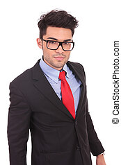 curageous business man - young business man looking at the...