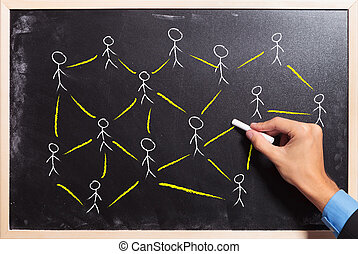social networking or teamwork concept - male hand drawing on...