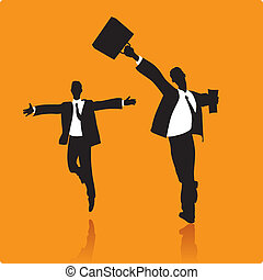 Lucky businessmen running and jumping. Vector illustration.