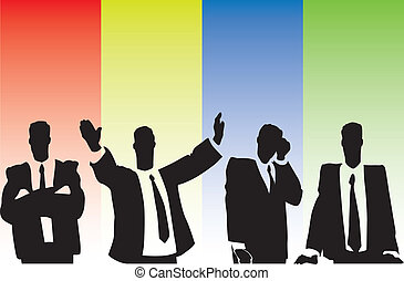 Businessmen on tribune on multicolor background Vector...