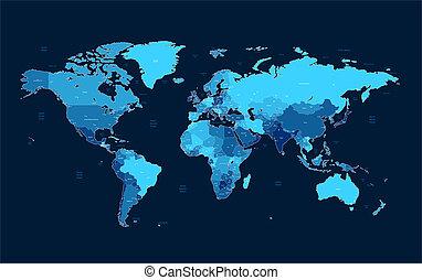 escuro, azul, detalhado, mundo, mapa
