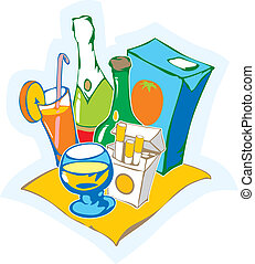 Still life with drinks Vector illustration