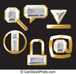Gem icons with diamond - Diamond internet and website icons....
