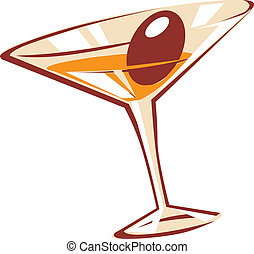 Cocktail glass. Vector illustration.