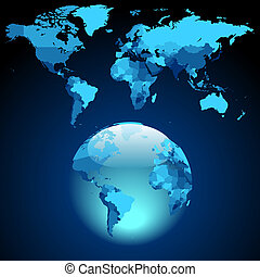 Globe on dark blue World map. Vector illustration.