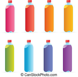 Multicolored water bottles