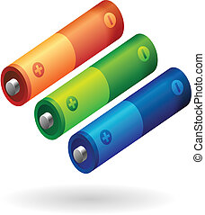 AA battery in various colors. Vector illustration.