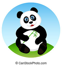 Cute kid panda eating bamboo