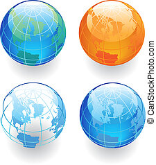 Four Globes - Globes in various colors. Vector illustration.
