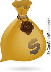 Isometric icon of sack with money