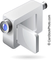 Isometric icon of video camera - Silver compact video camera...