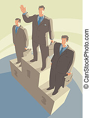Pedestal - Winners standing on pedestal. Vector...