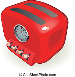 Toaster - Retro-styled toaster with timer. Vector...