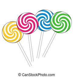 Set with colorful lollipops
