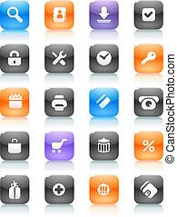 Multicolored buttons for internet and shopping