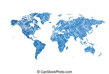 World map design concept - World map with texture of...