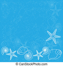 Blue background with sea life - Ocean background with sea...