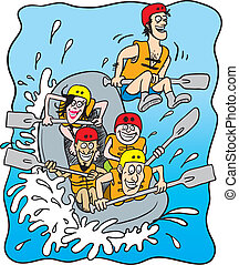 white water rafting - cartoon illustration of five happy...