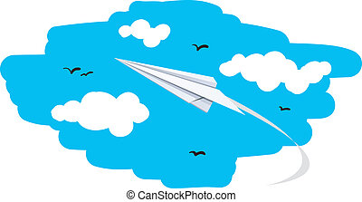 paper plane - vector illustration of a paper plane flying to...