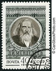USSR - 1957: shows Dmitri I. Mendeleev (1834-1907), chemist...