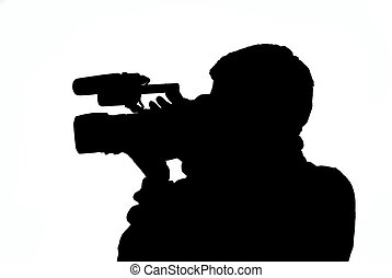 video operator - silhouette of video operator on white