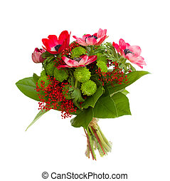 bouquet with anemone flowers - bouquet with red anemone...