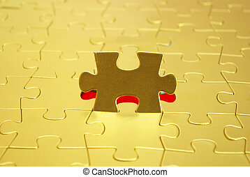 gold puzzles for background business concept