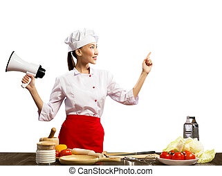 Asian female chef holding a megaphone and points a finger at...