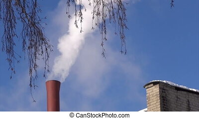 Smoking chimney.